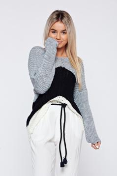 Pulover negru casual tricotat cu maneca lunga