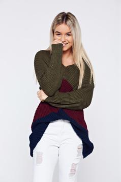 Pulover visiniu casual tricotat cu maneca lunga