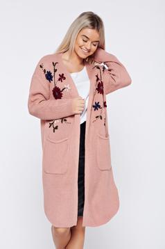 Cardigan rosa casual brodata tricotat cu buzunare