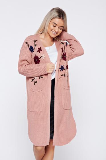 Cardigan rosa casual brodat tricotat cu buzunare