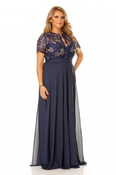 Rochie albastra de ocazie cu decolteu cu insertii de broderie