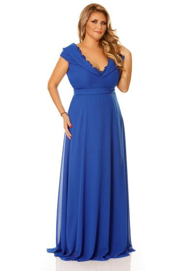 Rochie albastra de ocazie din voal cu decolteu