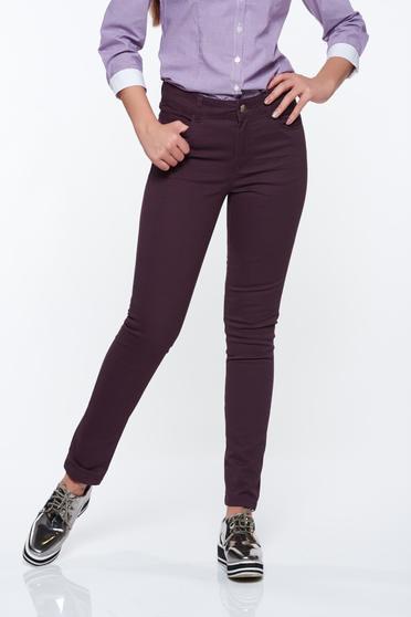 Pantaloni Top Secret mov casual conici cu talie medie din bumbac cu buzunare