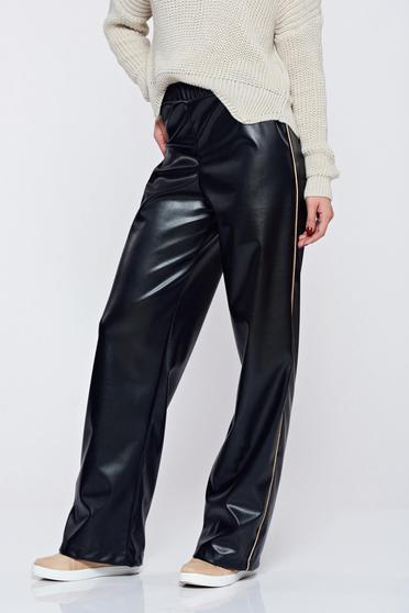 Pantaloni StarShinerS negri casual cu talie inalta din piele ecologica