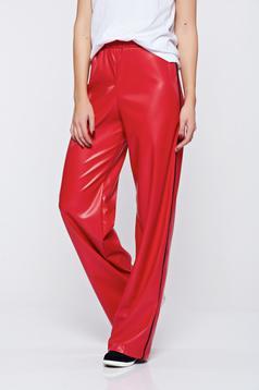 Pantaloni StarShinerS rosii casual cu talie inalta din piele ecologica