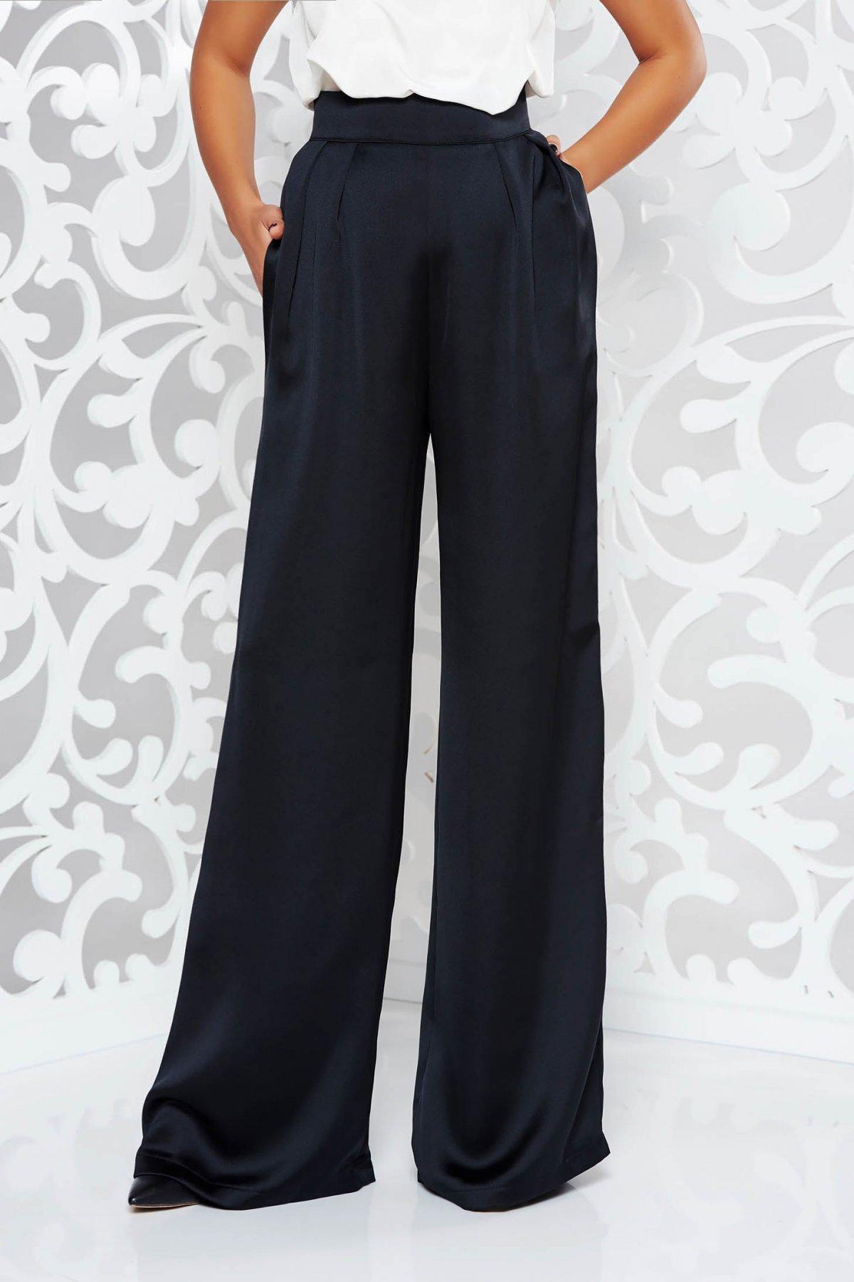 Pantaloni StarShinerS negri eleganti evazati cu talie inalta din satin