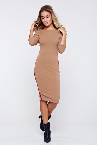 Rochie StarShinerS maro casual tip creion din material elastic