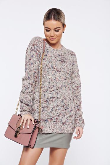 Pulover Top Secret piersica casual tricotat material gros