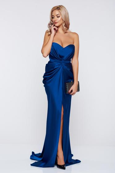 Rochie Ana Radu albastra de lux din material satinat cu push-up