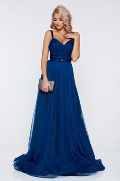 Rochie Ana Radu albastra de seara cu bretele accesorizata cu cordon