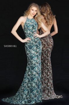 Rochie Sherri Hill 51410 green print