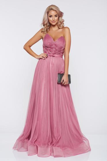 Rochie Ana Radu rosa de lux tip corset din tul captusita pe interior cu pietre strass