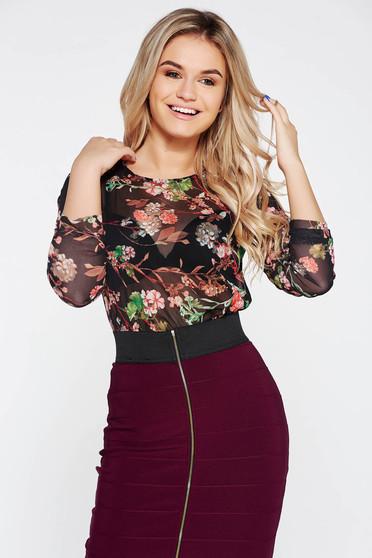 Bluza dama Top Secret neagra casual din tul cu imprimeu floral