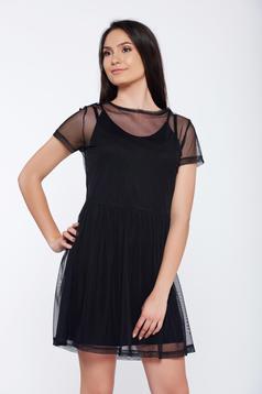 Rochie Top Secret neagra casual cu croi larg din tul