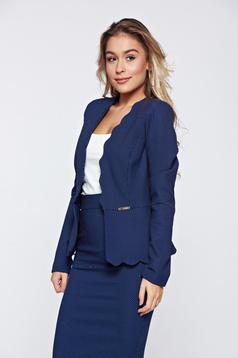 Sacou Fofy albastru-inchis office elegant cambrat cu buline