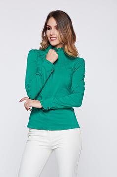 Camasa dama Fofy verde office din bumbac elastic