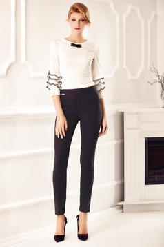 Pantaloni Fofy negri office eleganti conici cu buline