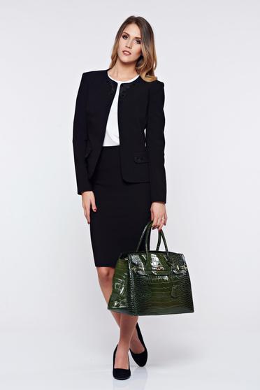 Costum damă LaDonna negru office din stofa cu insertii de broderie