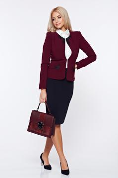 Costum damă LaDonna visiniu office din stofa cu insertii brodate manual