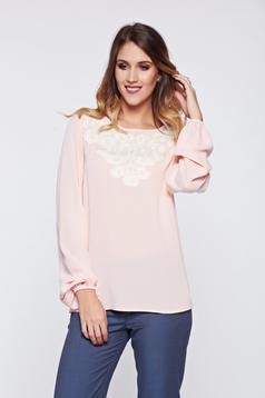 Bluza dama LaDonna rosa office brodata cu croi larg