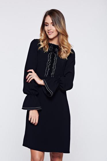 Rochie LaDonna neagra office eleganta cu volanase la maneca