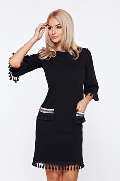 Rochie LaDonna neagra eleganta de zi cu ciucuri