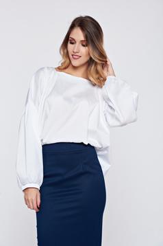 Bluza dama PrettyGirl alba office eleganta cu croi larg