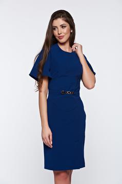 Rochie PrettyGirl albastra office eleganta cu maneci tip fluture