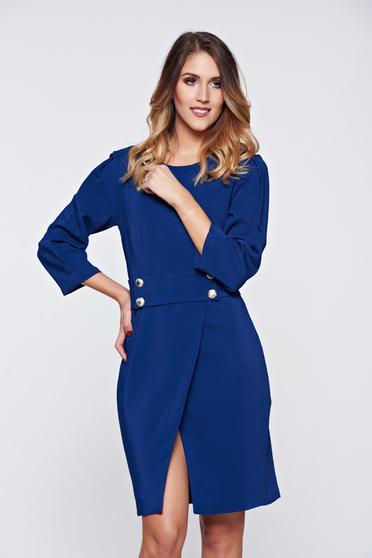 Rochie PrettyGirl albastra office petrecuta cu croi in a accesorizata cu cordon