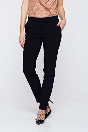 Pantaloni negri office PrettyGirl din stofa cu talie medie cu buzunare
