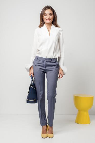 Pantaloni gri office PrettyGirl din stofa cu talie medie cu buzunare