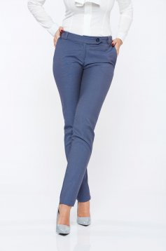 Pantaloni PrettyGirl gri office din stofa cu talie medie cu buzunare