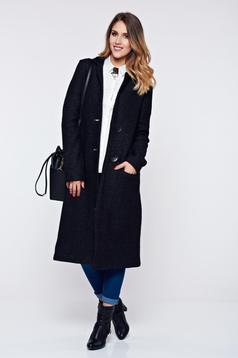 Palton PrettyGirl negru casual material gros cu buzunare