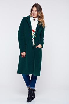 Palton PrettyGirl verde-inchis casual material gros cu buzunare
