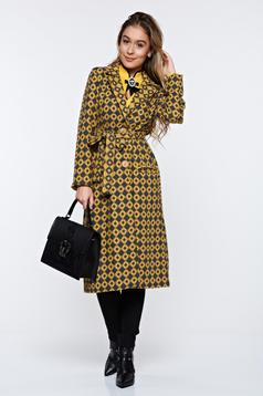 Palton PrettyGirl galben casual material gros cu buzunare