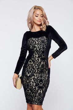Rochie StarShinerS neagra eleganta din dantela din catifea