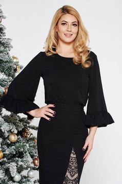 Bluza dama StarShinerS neagra eleganta cu croi larg din voal cu maneci clopot