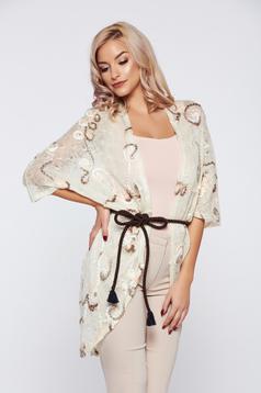 Cardigan PrettyGirl crem casual tricotat brodata flori in relief