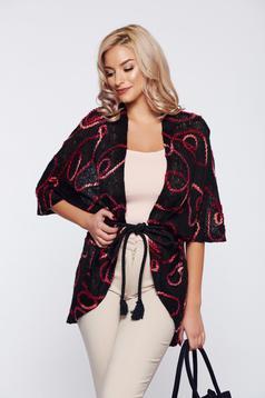 Cardigan PrettyGirl negru casual tricotat brodata flori in relief
