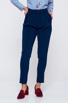 Pantaloni PrettyGirl albastri office din stofa cu buzunare