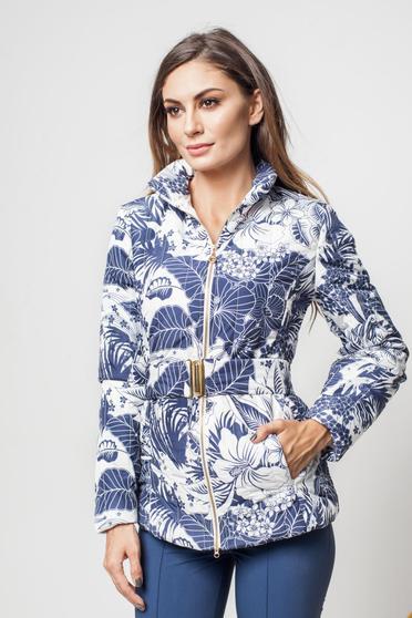 Geaca PrettyGirl albastra casual cu imprimeuri florale accesorizata cu cordon