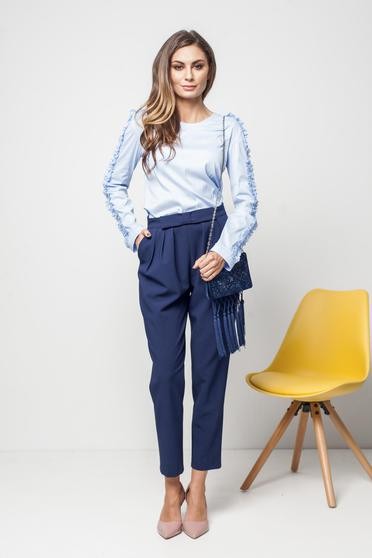 Bluza dama PrettyGirl albastra-deschis office eleganta cu maneci incretite