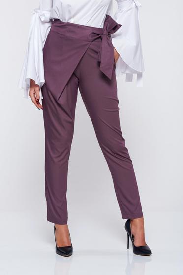 Pantaloni PrettyGirl mov office din stofa cu talie medie