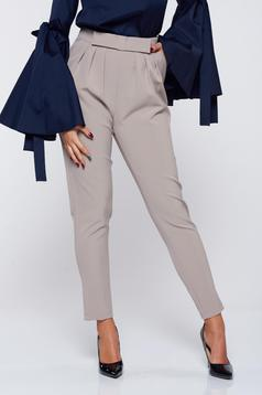 Pantaloni PrettyGirl crem office din stofa cu buzunare