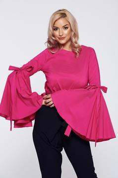 Bluza dama PrettyGirl roz eleganta cu maneci clopot