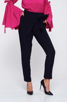 Pantaloni PrettyGirl negri office din stofa cu talie medie