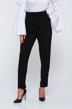 Pantaloni PrettyGirl negri office din stofa cu buzunare
