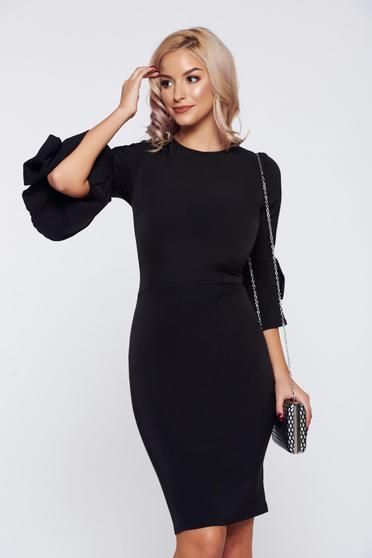 Rochie Artista neagra eleganta de zi accesorizata cu fundite