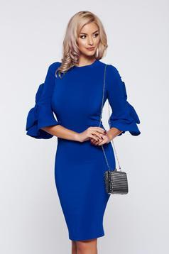 Rochie Artista albastra eleganta de zi accesorizata cu fundite