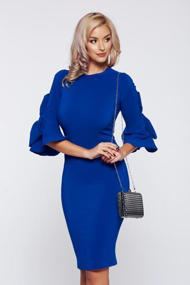 Rochie Artista albastra eleganta accesorizata cu fundite